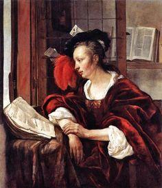 The Athenaeum - A Woman with a Book at a Window (Gabriël Metsu - )
