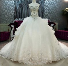 Super luxury cathedral wedding dress beaded Swarovski crystal rhinestones rows of beads super flash sequins tulle wedding dress sweetheart on Etsy, $2,880.00