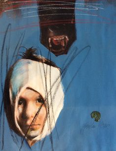 Milan Vavro Figure Painting, Figurative, Milan, Collage, Child, Sculpture, Blue, Photography, Art