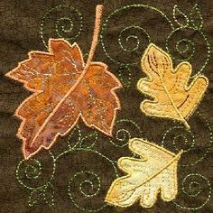TT088 - Applique Leaf Quilt Square - Threads of Time Embroidery