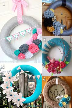 Spring Yarn Wreath with Rag Braid Flowers