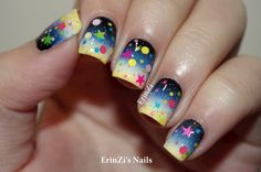 """Sky at dusk gradient; I started with a white base.The gradient is in black, blue, white and yellow from cuticles to tips, the polishes I used were Sinful Colors """"Black on Black"""", OPI """"Dating  A Royal"""", Sinful Colors """"Snow Me White"""" and OPI """"Need Sunglasses?"""".  Glam Polish Meteorite Mash tops with neon green, coral, blue, pink, lilac, orange, pastel pink glitters in dots, hexes and stars, and turned this mani into a meteor shower! ~ ErinZi's Nails"""