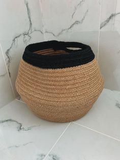 Jute Rope Planter Basket Natural/Black Jute, Straw Bag, Planters, Handmade Items, Basket, Natural, Etsy, Black, Decor