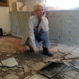 Ripping out Ceramic Tile Floor. In a relaxed & elegant manner.