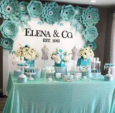 Tiffany Birthday Party, Blue Birthday Parties, Birthday Party Decorations, Birthday Desserts, 50th Birthday, 50th Party, Birthday Backdrop, Birthday Ideas, Tiffany E Co