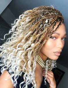 Boho, Blonde Goddess Box Braids hairstyles boho 51 Goddess Braids Hairstyles for Black Women Curly Hair Styles, Natural Hair Styles, Natural Curls, Blonde Box Braids, Black Braids, Braids For Curly Hair, Faux Locs Blonde, Braids For Black Women Box, Summer Hair