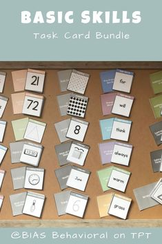 This basic skills pack contains ALL 18 full sets of task cards. It covers a variety of topics and skills.   Task card topics include: addition, subtraction, (6) sets of sight words, what goes together, calendar, counting, telling time, writing, numbers, letters, colors, money, shapes.  1,100+ individual task cards created with your child or client in mind.  All cards are consistent in style and contain an easy-to-read font.