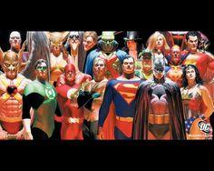 green lantern batman dc comics superman the flash alex ross martian manhunter wonder woman Wallpaper