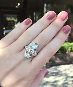 Fabulous Art Deco diamond and platinum ring featuring over 3.00 carats in Old European cut diamonds! Shop this stunner HERE.