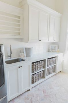 5 Custom Cabinet Ideas That Will Make Life Easier - homeyou 42 Beautiful Scandinavian Laundry Room Design Ideas Mudroom Laundry Room, Laundry Room Remodel, Laundry Room Organization, Laundry Room Design, Laundry Room Sink Cabinet, Laundry Room Baskets, Laundry Room Drying Rack, Laundry Basket Storage, Storage Baskets