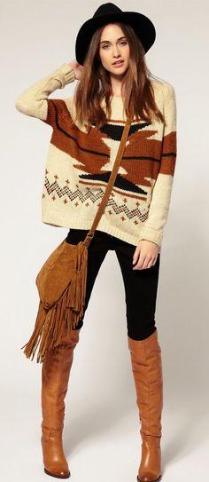 Boho tribal sweater [ http://AlbertoFermaniUSA.com ] #fall #fashion #style