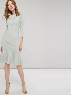 29fcb2626c5 Mint 3 4 Sleeve Fishtail Women s Bodycon Dress