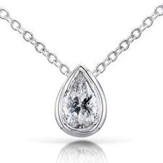 Pear 2/5ct TDW Diamond Solitaire Necklace