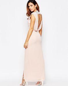 Elise Ryan | Elise Ryan Open Back Sleeveless Maxi Dress With Lace Trim And Thigh Split at ASOS