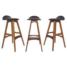 Set of Three Danish Teak and Leather Bar Stools by Erik Buck | 1stdibs.com