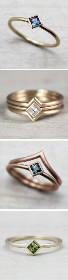 We love how versatile our Oblique Solitaire Engagement Ring is. Perfect for someone looking for a delicate, minimal, modern, and unique alternative engagement ring. Pictured from top to bottom: in 14k yellow gold with a Chatham alexandrite, in 10k yellow gold and diamond paired with two Chevron Contour Bands, in 14k rose gold with a fair trade blue-green Australian sapphire and paired with one V Contour Band, and in 10k yellow gold with a fair trade light olive green Australian sapphire.