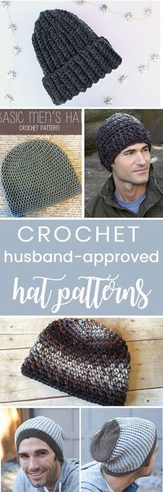 Crochet Hats for Men Crochet these easy husband-approved hats for men! All free beginner friendly crochet patternsCrochet these easy husband-approved hats for men! All free beginner friendly crochet patterns Mens Crochet Beanie, Crochet Men, Crochet Beanie Pattern, Crochet Mittens, Crochet Gloves, Crochet Gifts, Free Crochet, Knitted Hats, Crochet Ideas