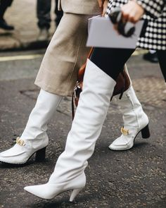 """Claire Guillon on Instagram: """"here come the women in white 🦢 #mangonewvoices"""" White Knee High Boots, White Leather Boots, White Boots, Leather Jacket, The Woman In White, Pretty Summer Dresses, Culotte Pants, Sheer Tights, Black Knees"""