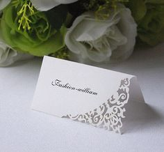 Laser cut Damask Name Place Cards,Table Cards,Wedding Sweets Favours