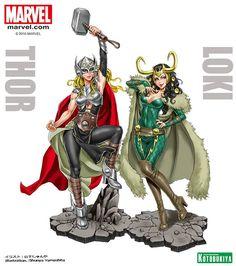 Thor - Thor & Loki - Bishoujo Statue, Marvel x Bishoujo - Kotobukiya (?) - US-Figuren - Japanshrine Loki Marvel, Loki Thor, Marvel Dc Comics, Avengers, Lady Loki, Marvel Women, Marvel Girls, Jane Foster Thor, Comic Books Art