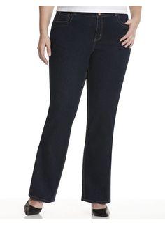 Plus Size Straight leg jean with T3 Tighter Tummy Technology - - Women's Size 14, 16, 18, 20, 22, 24, 26, 28,  Dark rinse Lane Bryant plus size,  plus size fashion plus size appare
