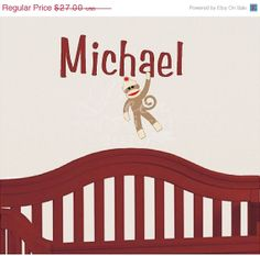 Black Friday Cyber Monday Sock Monkey Name Monogram Wall Decal Kids Room Nursery Decor