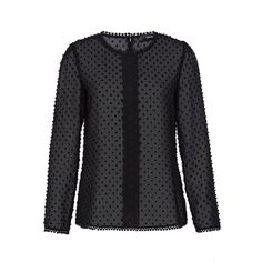 Hallhuber Blouse with embroidered polka dots ($83) ❤ liked on Polyvore featuring tops, blouses, black, women, draped blouse, cropped shirts, crop top, lace trim shirt and embroidery blouses