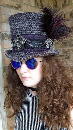 Ravelry: Silas Steampunk Hat pattern by Melivia Mutch Crochet Hat With Brim, Crochet Adult Hat, Crochet Beanie, Free Crochet, Knitted Hats, Knit Crochet, Crochet Hats, Chrochet, Mode Steampunk