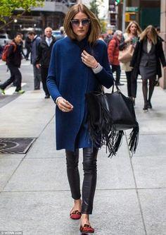 Olivia-Palermo-pantaloni-di-pelle-cappotto-blu