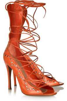 Kim Kardashian wearing Azzedine Alaia Studded Leather Lace-Up Sandals. Strappy Shoes, Lace Up Sandals, Studded Leather, Leather And Lace, Leather Heels, Azzedine Alaia, Orange Shoes, Orange Fashion, Beautiful Shoes