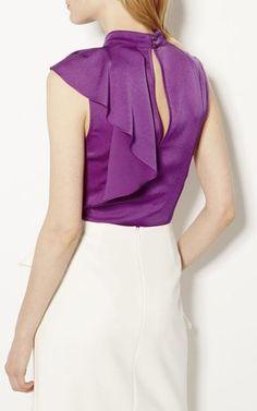 Karen Millen, RUFFLE NECK TOP Purple