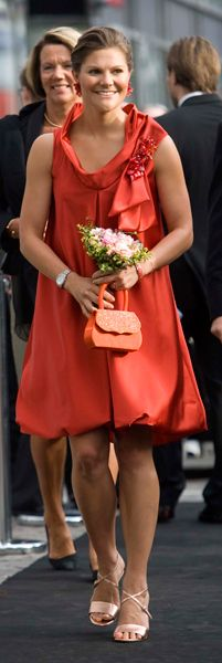 Crown princess Victoria =>the color and the fun design is enhance by her beauty.