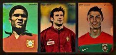 Leyendas de Portugal. Eusebio. Figo. Cristiano Ronaldo