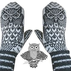 Ravelry: Night Owl mittens pattern by Jorid Linvik love these mittens--but couldn't figure out whether they needed to be in my knitting folder or the owlies folder! Crochet Mittens, Mittens Pattern, Knitted Gloves, Knit Crochet, Crochet Hats, Knitting Charts, Knitting Socks, Hand Knitting, Knitting Patterns