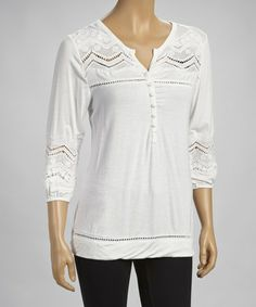 Take a look at this White Crocheted Tunic by Simply Irresistible on #zulily today!