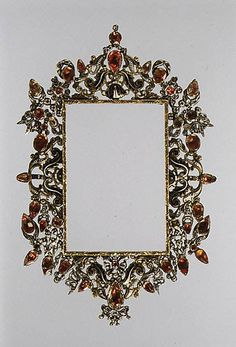 Frame  Late 17th–early 18th century Spanish or Southern Italian  Parcel-gilded and enameled silver, pastes (artificial diamonds) backed by pink metal foil