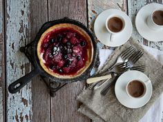Thermomix recipe: Dutch Baby Pancakes with Slow Roasted… Puff Pancake, Dutch Baby Pancake, Egg Curry, Lentil Curry, Thermomix Pancakes, Stewed Fruit, Almond Pancakes, Baby Pancakes, Chocolate Granola
