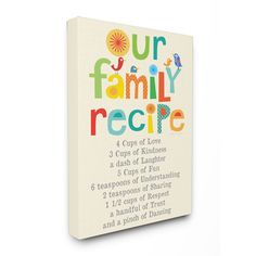 Stupell Our Family Recipe List Textual Art 16-inch x 20-inch Canvas
