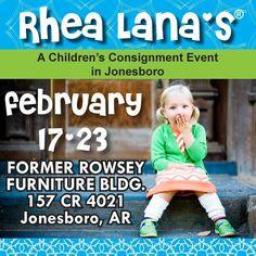 Rhea Lana's of Jonesboro  www.jonesboro.rhealana.com      Sun Feb 17 from noon - 7pm  Mon Feb 18 from 10am - 7pm  Tue Feb 19 from 10am - 7pm   Wed Feb 20 from 10am -7pm   Thu Feb 21 from 10am -3pm   Fri Feb 22from 10am - 7pm  Sat Feb 23 from 9am -3pm