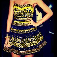 yellow and black tribal print