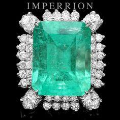 $127500 CERTIFIED 14K WHITE GOLD 17.50CT EMERALD 3.05CT DIAMOND RING
