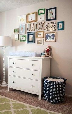 Cluster of prints above changing table ie in kid's room Baby Bedroom, Baby Boy Rooms, Baby Boy Nurseries, Nursery Room, Girl Nursery, Kids Bedroom, Child's Room, Bedroom Decor, Name In Nursery