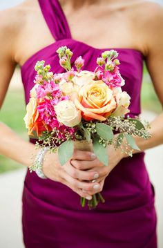 Orange & Sangria Rustic Fall Wedding - I like the style of the BM bouquet with the juniper, the brides is pretty but too tight Fall Wedding Flowers, Fall Wedding Decorations, Fall Wedding Colors, Purple Wedding, Peacock Wedding, Bouquet Wedding, Floral Wedding, Wedding 2015, Dream Wedding