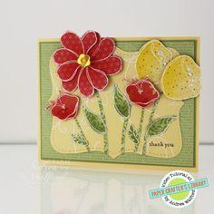 Awash avec des fleurs Stampin 'Up!  Carte Avec papier Piecing Technique