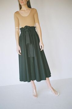 Same day shipping on Maryam Nassir Zadeh. Full, ruffley structured skirt with wide ribbon drawstring at waist, paperbag style top, buttons at front and high front slit. Fabric is cotton. Made in the USA. Leotards, Midi Skirt, High Waisted Skirt, Boutique, Skirts, Swimwear, Cotton, Shopping, Tops