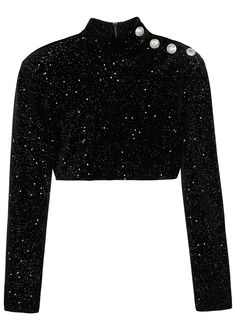 ca117d3c72d2f6 Black glittered cropped velvet top - Balmain Glitter Slides