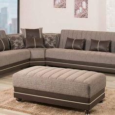 Royal Home Fabric Upholstery Modern Ottoman, Brown - Corner Sofa Design, Sofa Bed Design, Living Room Sofa Design, Living Room Furniture, Living Room Decor, Furniture Design, Latest Sofa Designs, Modern Ottoman, Luxury Sofa