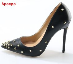 Big Size Black Patent Leather Spikes High Heel Shoes Pointed Toe Sexy 12CM  Women Pumps 2017 e53ef72ecb60