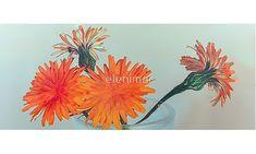 'Orange Flowers' Mug by elenimac Framed Prints, Canvas Prints, Art Prints, Floor Pillows, Throw Pillows, Orange Flowers, Iphone Case Covers, Art Boards, Mugs