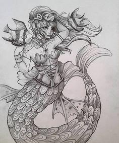 03/31 Goth Mermaid #31mermaids #mermay #dailyart #dailymermaidsmonth #goth #mermaid #instaart